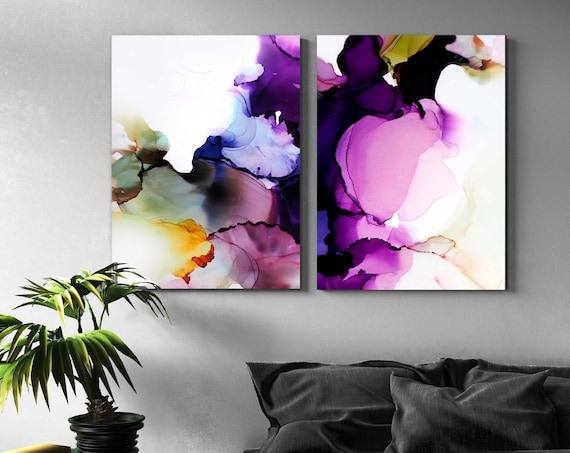 Amethyst & Avocado Abstract Fine Art Prints, Jewel Tone Paintings for Interior design, Home Decor, Contemporary Art