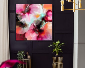 Blush Hibiscus Fine Art Print, Colourful Modern Abstract Canvas, Interior Design, Home Decor, Grey Wall Art