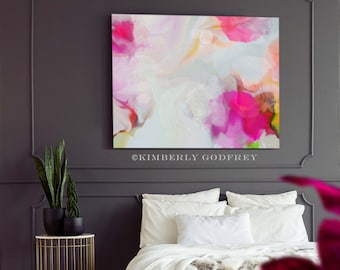 Lux Rouge Abstract Print, Home Office Decor, Pink Interior Design, Oversized Wall Art, UK artist