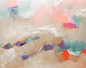 Barley Fields Abstract Art Print, Pastel Browns, Summer Home, Room Aesthetic, Light Amber Wall Decor