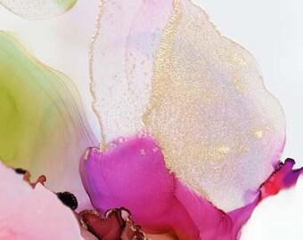 Cerise & Lime Sheer Petals, Abstract Floral Fine Art Print, Pink Flower, Home Decor, Botanical Wall Art