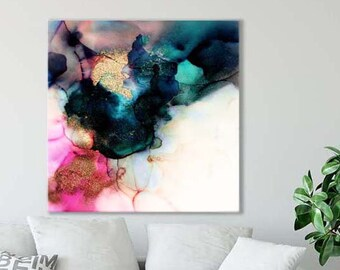 Abstract Teal & Pink Canvas Art Print, Modern Home Decor, Livingroom, Office Wall Art, Interior Design