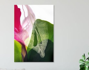 Opal IRIS Fine Art Print, Bird of Paradise Floral Art, Bright Green, Hot Pink Decor Ideas, UK