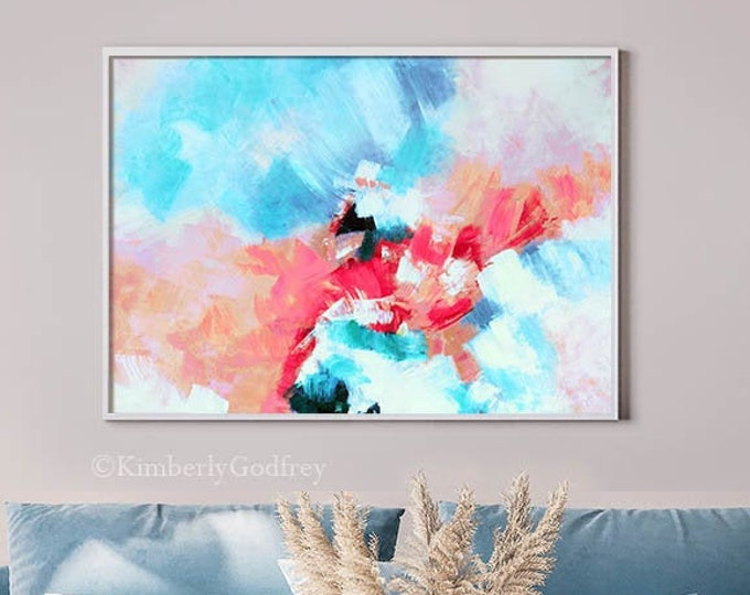 Featured listing image: Tahitian Coral Abstract Art Print, Pink Wall Art, Room Aesthetic Decor, Teal Blue Interior Design, UK Artist