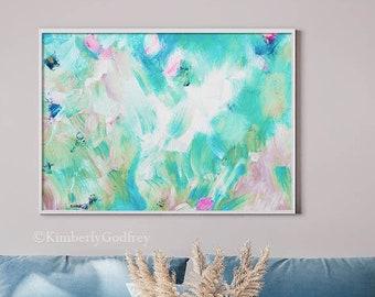 Windermere Sky Abstract Fine Art Print, White Interior Design, Teal Green Home Decor, UK Artist