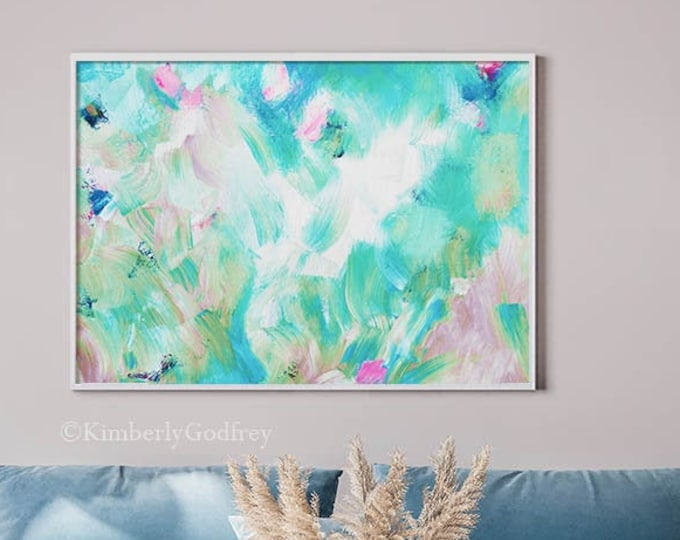 Featured listing image: Windermere Sky Abstract Fine Art Print, White Interior Design, Teal Green Home Decor, UK Artist