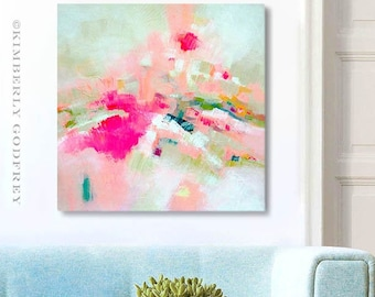 """Pink Heather Original Painting, Contemporary Abstract Art, Textured Art, 40x40"""" Large Stretched Canvas, UK artist"""
