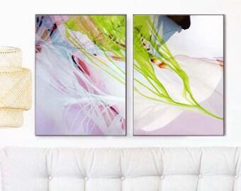 Green Abstract Floral Art Prints, Pastel Fronds, Modern Home Decor, Original Wall Art, Interior Design, UK