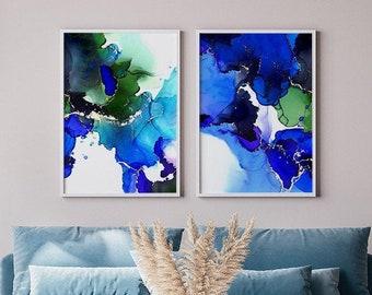 Ultramarine Blue Abstract Art Prints, Sapphire Jewel Tones, Interior Decor, Teal Ink Aesthetic Wall Art, UK