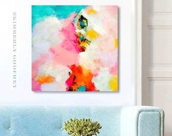 Miami Mango Fine Art Print, Bright Orange Pop, Colourful Abstract Art, Pink Mint Wall Art, Modern Interiors, UK