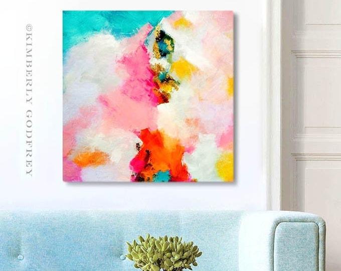 Featured listing image: Miami Mango Fine Art Print, Bright Orange Pop, Colourful Abstract Art, Pink Mint Wall Art, Modern Interiors, UK