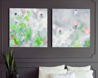 Exmoor Grey Abstract Set of 2 Fine Art Prints, Sage Green Aesthetic, Interior Design, Modern Floral Painting, Unique Wall Art
