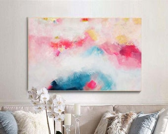 Blush Indigo Landscape Abstract Print, Embellished Canvas, White Home Decor, Yellow Abstract Wall Art, Office Decor, UK