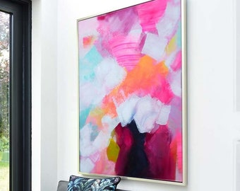 Embellished Abstract Fine Art Print, Miami Peaches, Bright Pink Wall Art, Original Painting, Interior Design, Wall Art UK