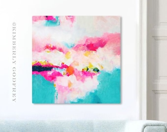 Miami Beach Abstract Print with Bright Colours, Large Gold Leaf Embellished Canvas, Contemporary Art by Kimberly Godfrey