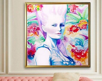 Marie Antoinette Fine Art Print, Watercolor Painting, Pink Hair Fashion Illustration French Queen, Oversized Wall Art