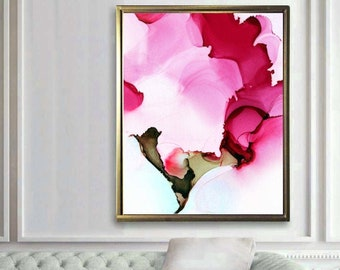 Cerise Petals Abstract Giclee Print, Oversized Flower Painting, Home decor statement art, Canvas Wall Art, UK