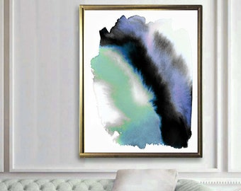 Pistachio Green Abstract Giclee Print, Muted Colors, Home Decor, Dark Slate Grey Interior Design, Oversized Wall Art UK