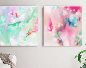 Mint Sherbet Abstract Art Print Set, Pink Pastel Large Floral Set, Wall Art for Home Decor, UK