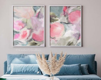 Sage & Peonies Abstract Art Print Set, Soft Pastel Home Decor, Floral Wall Art, Mint Green Pink Art UK
