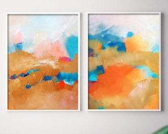 Sante Fe Summer Fine Art Print Set, Golden Southwest Home Decor, Orange Design, Teal Wall Art Canvas Set