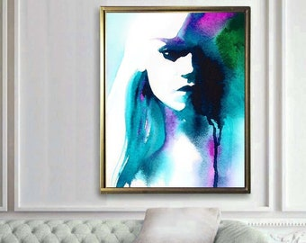 Watercolor Portrait, Art Print Fashion Illustration, Salon Decor, Fantasy Abstract Portraiture, Teal Blue