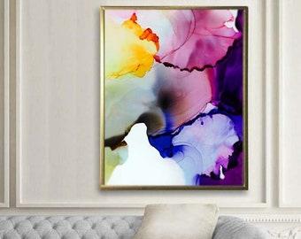 Cobalt Blue Floral Fine Art Print, Contemporary Purple Abstract Flower, Oversized Canvas Wall Art, Home decor, UK
