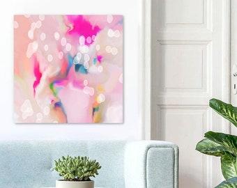 Blush Snowdrops Fine Art Print Contemporary Home Decor, Large White Painting, Wall Decor UK