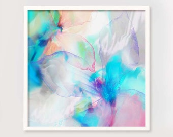 Sheer Blue Lily Abstract Art Print, Light Teal Interior Design, Pink Ink Painting, Teal Aesthetic, UK artist