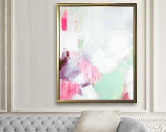 Wintergreen Mint Abstract Fine Art Print, Embellished Canvas Print, White Home Decor, Soft Pastel Minimalist Decor, Wall Art UK