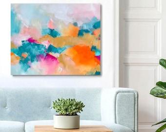 Desert Bloom, Orange Aesthetic Abstract Art Print, Splash of Colour, Contemporary Living room Art, White Wall Home Decor