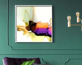 Sage & Plum Abstract Fine Art Print, Soft Orange, Pale Green Wall Decor, UK artist