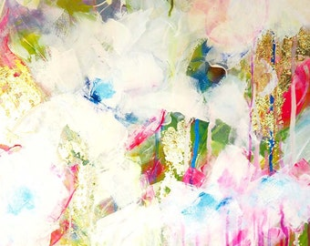 White Gold & Cherry Blossom Abstract Floral Painting, Gold Leaf, Contemporary Art, Pink Dripping Paint 20x25""