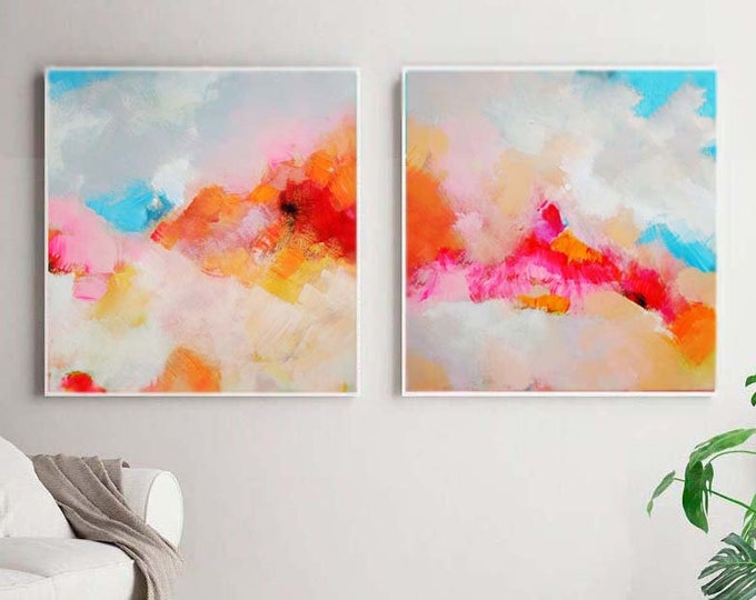 Featured listing image: Tangerine Blush Abstract Set of 2 Fine Art Prints, White Home Decor, Interior Design, Coral Pink Painting, Wall Art