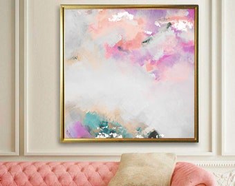 Blush Skies Abstract Fine Art Print, Large White Interior Design, Pale Pink Home Decor