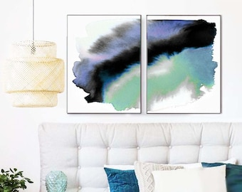Mint Green Abstract Giclee Art Print Set, Watercolor Paintings, Oversized Wall Art, Home Decor, UK