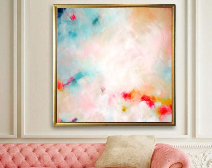 Featured listing image: Blush Mint Sky Fine Art Print, Soft White Abstract Contemporary Canvas, Office Decor, Large Embellished Wall Art