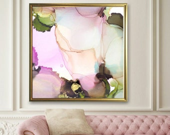 Blush Pink & Sage Green Floral Art Print, Contemporary Abstract, Embellished Print with Gold Ink, Wall Art UK