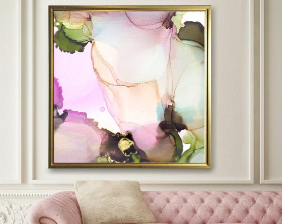 Blush Pink Lilac & Sage Green Floral Fine Art Print, Contemporary Pastel Abstract Embellished with Mica Ink and Gold Leaf