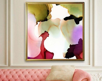 Blush Abstract Floral Fine Art Print, Pastel Home Decor, Livingroom, Office Decor, Modern Painting, Wall Art UK