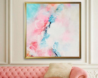 Cerise Fine Art Abstract Print, White Floral Painting, Springtime Home Decor, Large Wall Art, UK