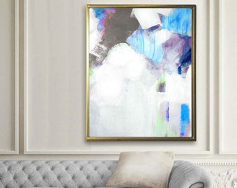 Blue Grey Embellished Fine Art Print, Pastel Abstract Acrylic Painting, White Home Decor Ideas, Oversized wall art