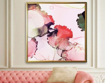 Coral Pink Abstract Floral Art Print, Blush Crush Petals, Modern Wall Art for Home Decor, Living room