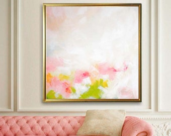 Coral & Lime Green Abstract Fine Art Print, Pale Pinks, Oversized Painting, Light Pastel Colors, Office decor, UK