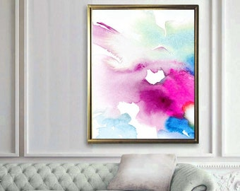 Contemporary Abstract Art Print, Teal Green & Rose Pink Watercolor Painting, Home Decor, Large Giclee Wall Art UK