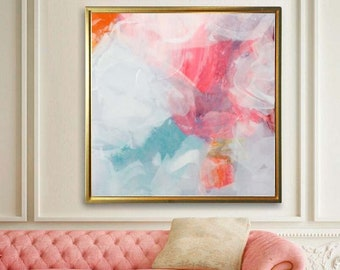 Tangerine Abstract Art Print, Modern Office and Home Decor, Livingroom Wall Art, Large Abstract Painting, UK