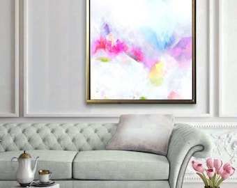 White Violet Abstract Giclee Art Print, Pale Pink Embellished Canvas Print, White Painting, Home Decor, Wall Art UK