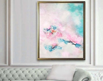 Light Baby Pink Embellished Abstract Fine Art Print, Acrylic Painting for Home Decor, Nursery Wall Art UK