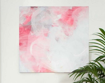 Abstract Blush Peach Fine Art Print Contemporary Home Decor, Large White Painting, Wall Decor UK