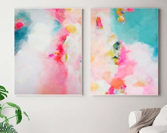 Miami Sky Abstract Print Set, Large Modern Wall Art, Embellished with Gold leaf for Home & Office Decor, Pink Teal Wall Art